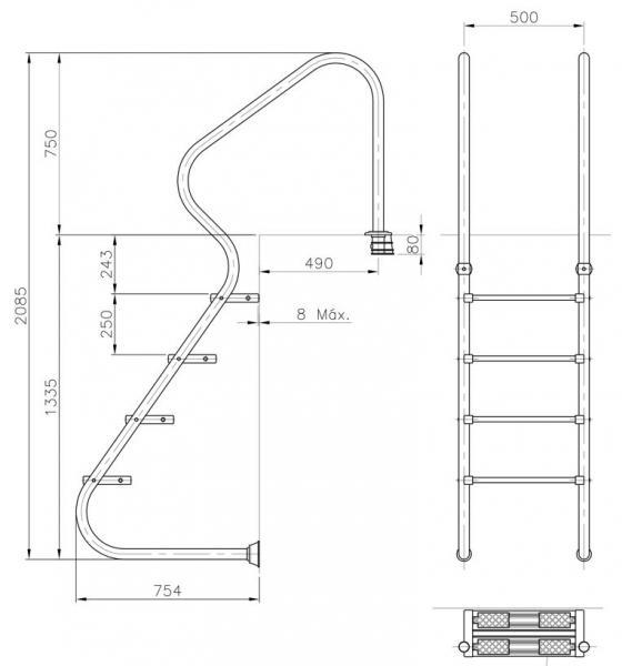 Escalera acceso fcil astral pool for Escalera piscina facil acceso